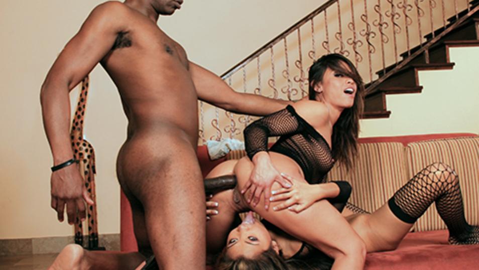 Asian and Latina hotties share a big black cock